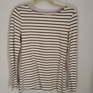 Boden cream and brown stripe top size 6